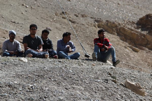 All-men hiking groups.