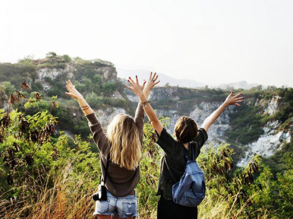 Trekking with women.