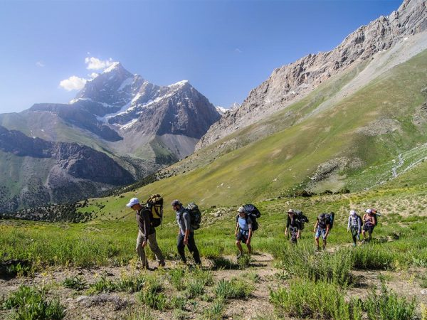 Hiking in the Fann Mountains.